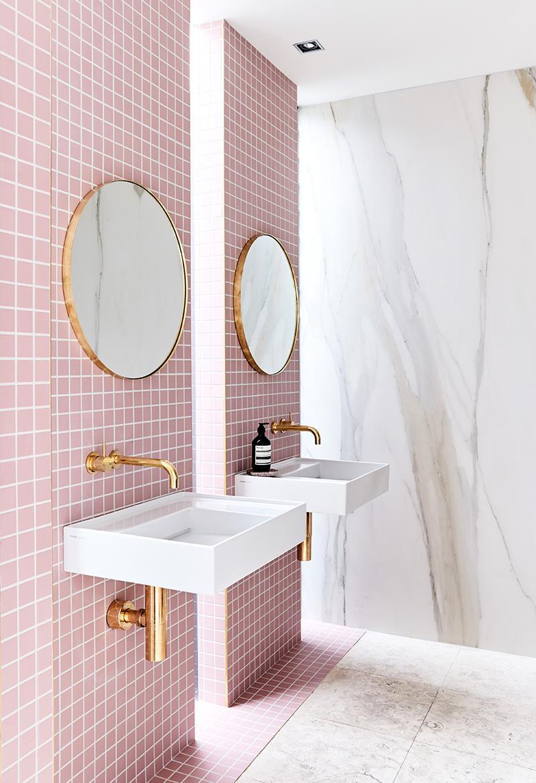 Pink grid tiles