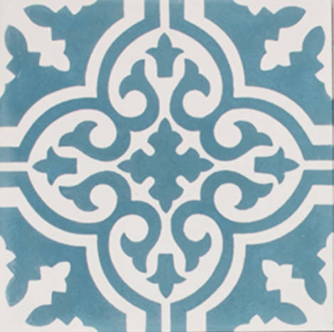Aberdeen Aqua and White Encaustic Single Tile