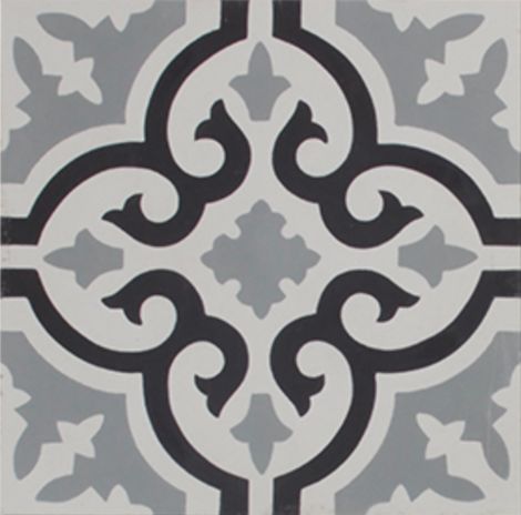 Aberdeen Black Grey and White Encaustic Single Tile