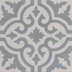 Aberdeen Grey and White Encaustic Single Tile