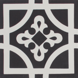 Oxford Black and White Encaustic Single Tile