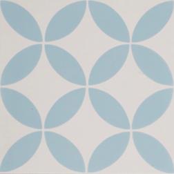 Petal Blue on White Encaustic Single Tile