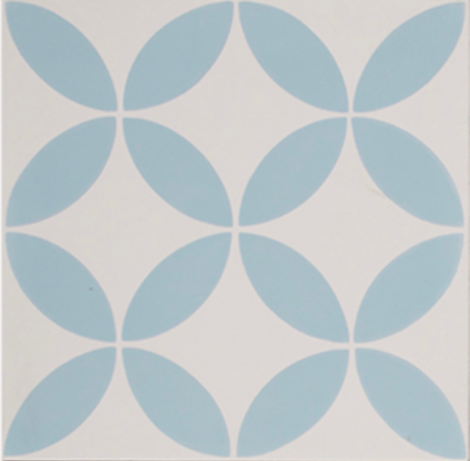 Petal Blue on White Encaustic Single Tile