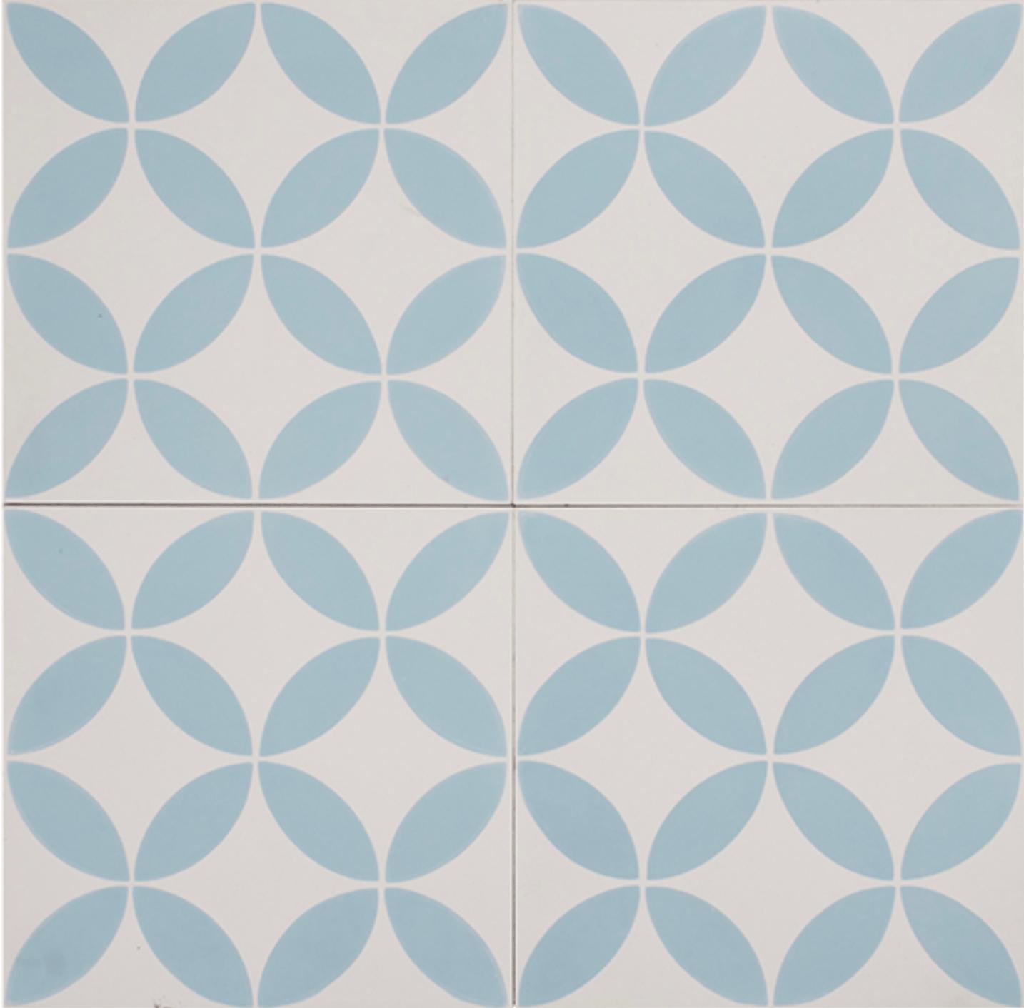 PETAL BLUE ON WHITE ENCAUSTIC CEMENT TILE - Tile Republic