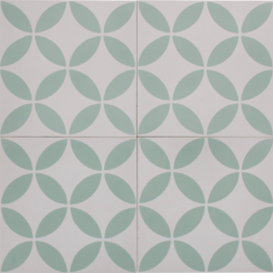 Petal Green on White Encaustic Single Tiles