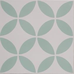 Petal Green on White Encaustic Single Tile