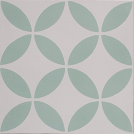 Petal Green on White Encaustic Single Tile