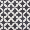 Petal White on Black Encaustic Single Tiles