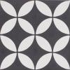 Petal White on Black Encaustic Single Tiles