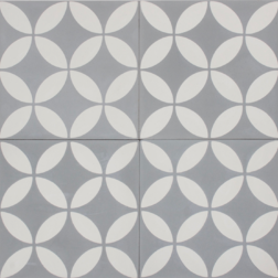 Petal White on Grey Encaustic Single Tiles