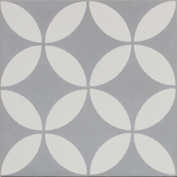 Petal White on Grey Encaustic Single Tile