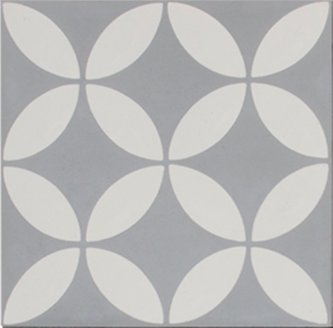 Petal White on Grey Encaustic Single Tile