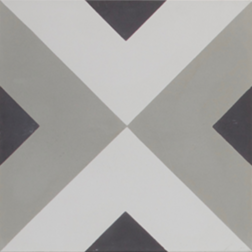 Squares Black Grey and White Encaustic Single Tile