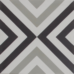 Squares Thin Black and White Encaustic Single Tile