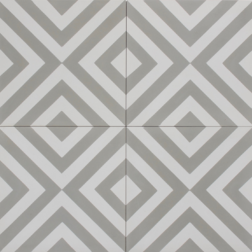 Squares Thin Grey and White Encaustic Single Tiles