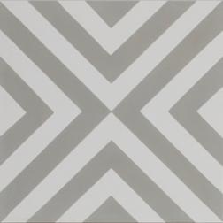 Squares Thin Grey and White Encaustic Single Tile
