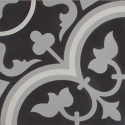 Tudor Black Grey and White Encaustic Single Tile