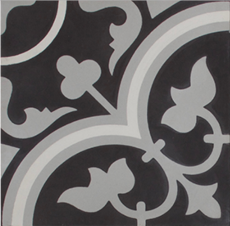 Tudor Black Grey and White Encaustic Single Tile