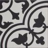 Tudor Black and White Encaustic Single Tile