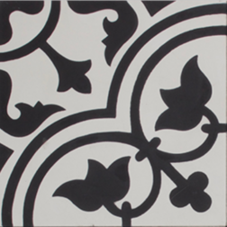 Tudor Black and White Encaustic Single Tile