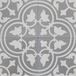 Tudor Grey and White Encaustic Single Tile