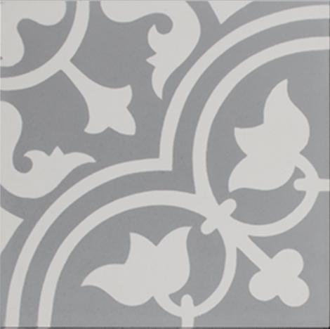 Tudor Grey and White Encaustic Single Tile