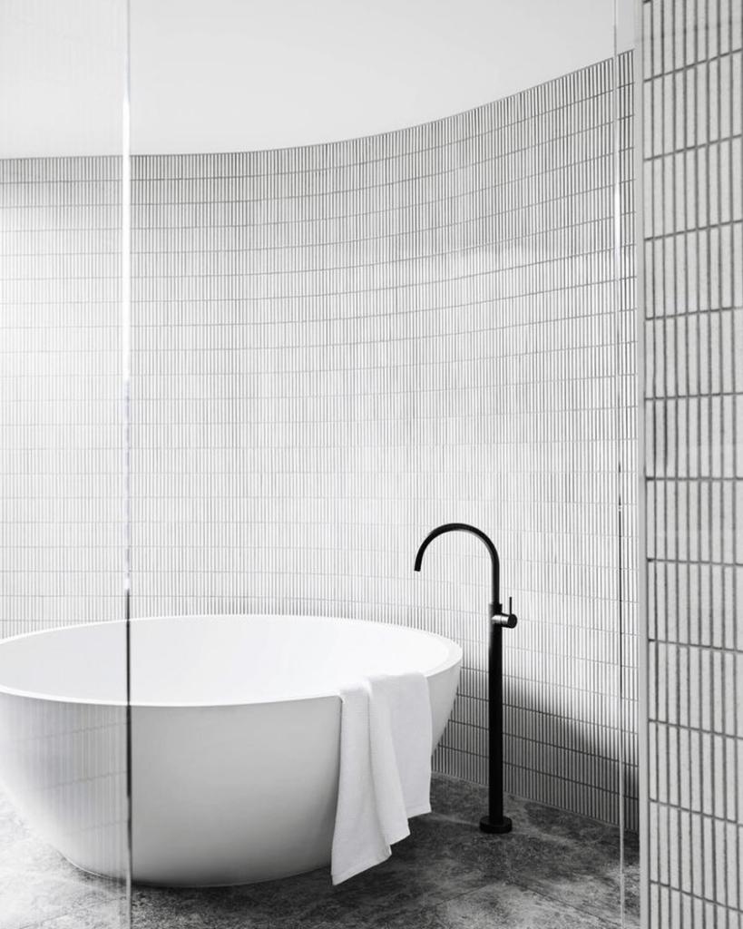 White Kitkat Mosaic Bathroom