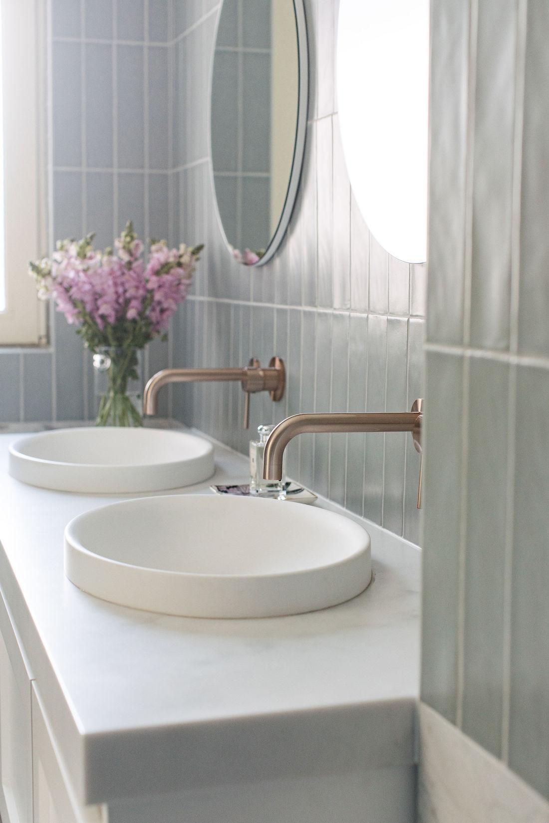 Double semi-inset basin in vanity