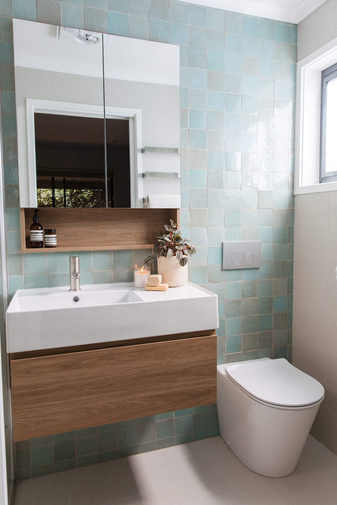 Vanity and toilet in calming ensuite