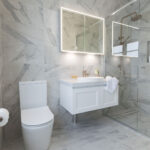 Marble-look bathroom
