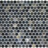 Camden Penny Round Blue Mix Gloss Glazed Mosaic Tile