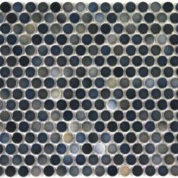 Camden Penny Round Blue Mix Gloss Glazed Mosaic Tile
