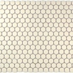 Camden Penny Round Off White Unglazed Mosaic Tile