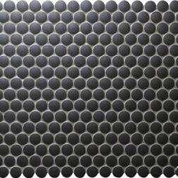 Camden Penny Round Black Unglazed Mosaic Tile
