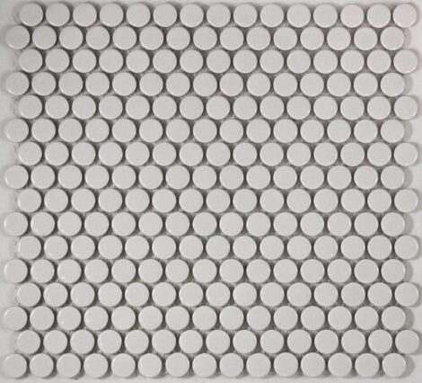 Camden Penny Round White Gloss Glazed Mosaic Tile