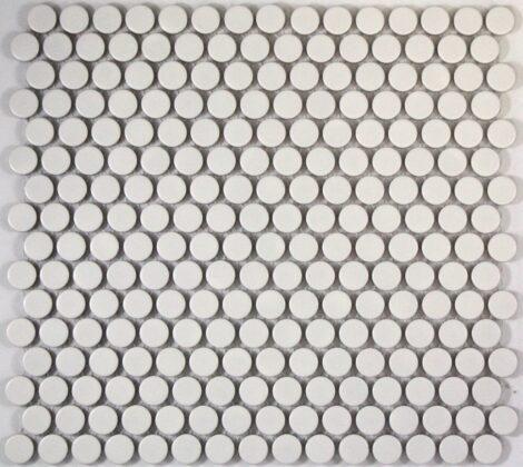 Camden Penny Round White Matt Glazed Mosaic Tile