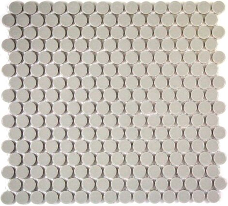 Camden Penny Round Light Grey Gloss Glazed Mosaic Tile