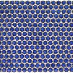 Camden Penny Round Cobalt Blue Gloss Glazed Mosaic Tile