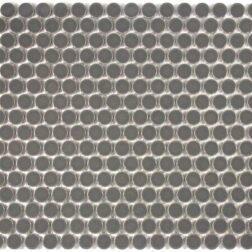 Camden Penny Round Dark Grey Gloss Glazed Mosaic Tile