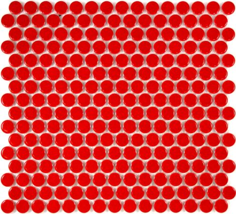 Camden Penny Round Red Gloss Glazed Mosaic Tile