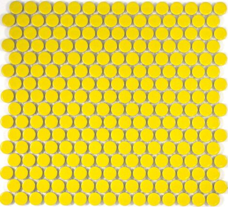 Camden Penny Round Yellow Gloss Glazed Mosaic Tile