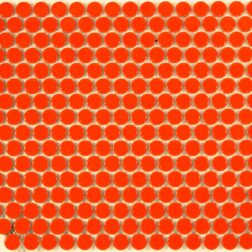 Camden Penny Round Orange Gloss Glazed Mosaic Tile