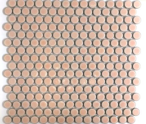 Camden Penny Round Pink Gloss Glazed Mosaic Tile