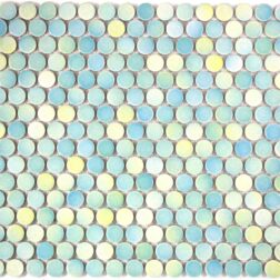 Camden Penny Round Light Green Mix Gloss Glazed Mosaic Tile