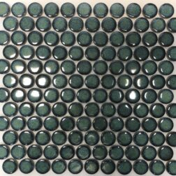 Camden Penny Round Shadow Green Gloss Glazed Mosaic Tile
