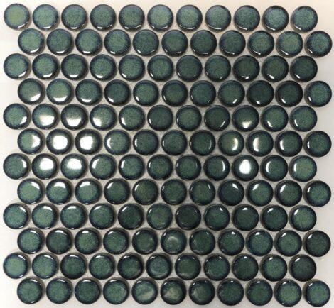 Camden Penny Round Shadow Green Gloss Glazed Mosaic Tile