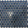 Camden Penny Round Shadow Blue Gloss Glazed Mosaic Tile
