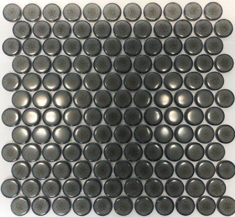 Camden Penny Round Mottled Grey Gloss Glazed Mosaic Tile
