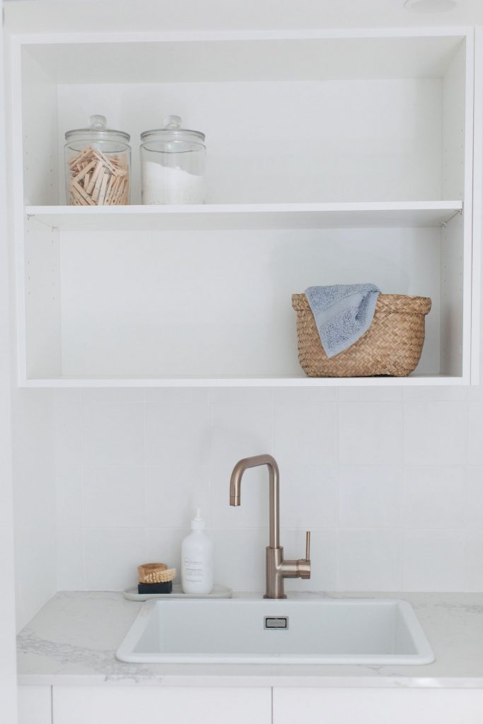 Fireclay sink in laundry