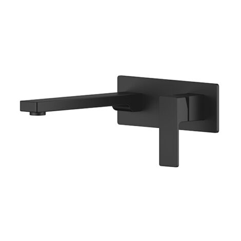 Lozano Lucas Wall Combination Mixer + Spout on Backplate - Matte Black